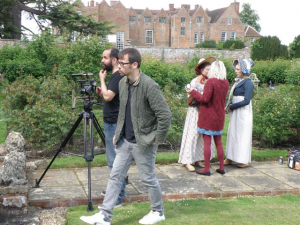 Steve Dorrington directs, Tristan Syrett shoots as Sophie Brown checks make-up.